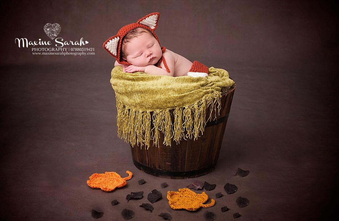 little fox, baby in bucket, newborn photoshoot